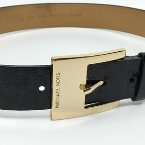 Michael Kors Black Glossy Synthetic Leather Belt S